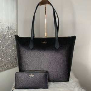 Kate Spade Black Glitter Joeley Tote / Wallet Set